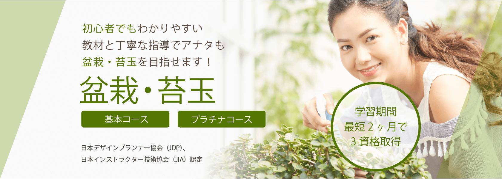 盆栽・苔玉資格取得の通信教育講座