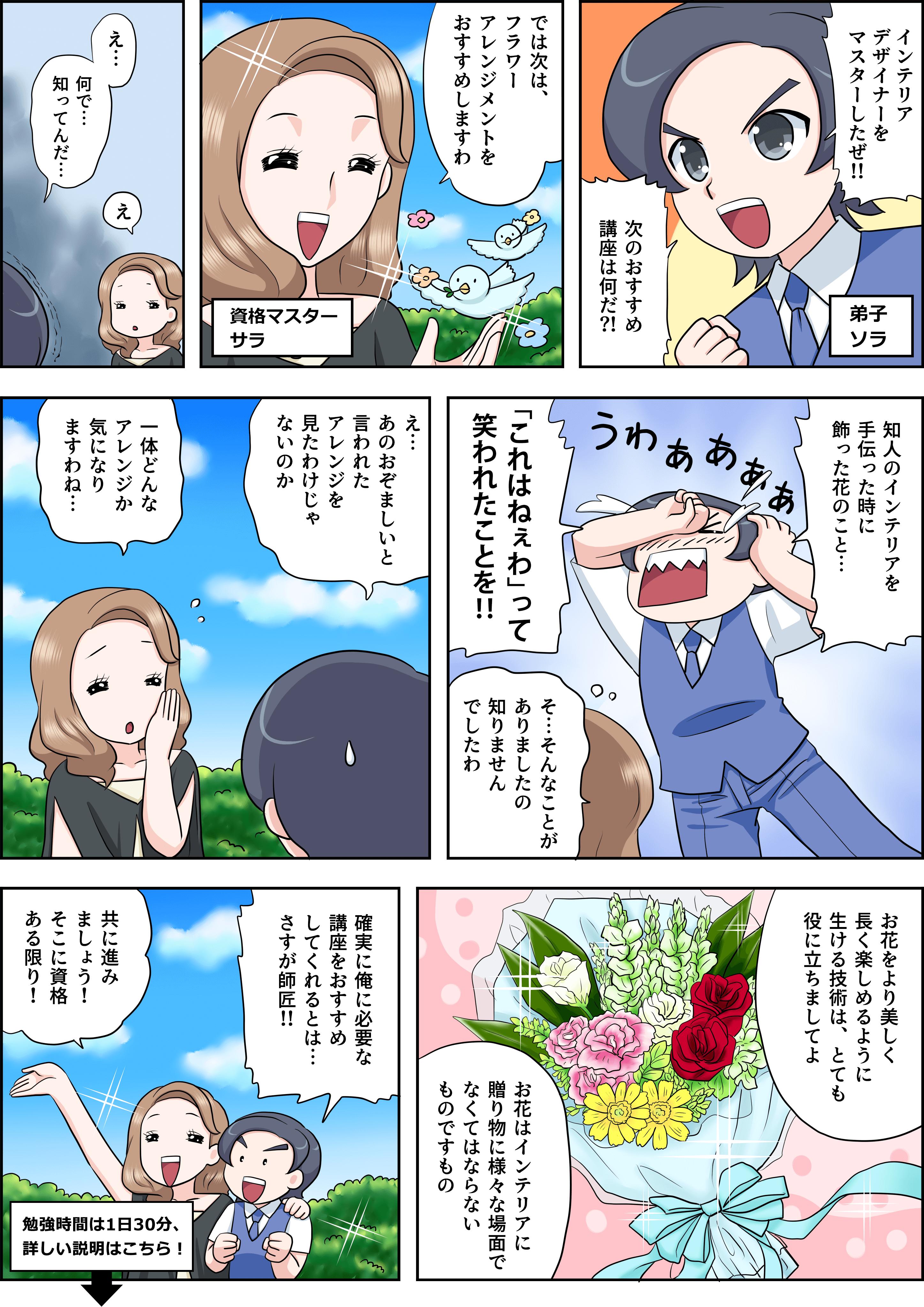 フラワーアレンジメントの漫画